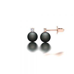 Rose gold Tahitian pearl and diamond stud earrings side view