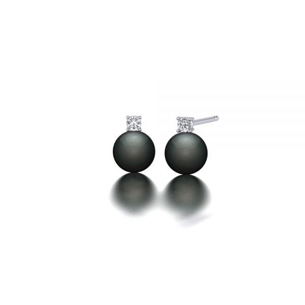 White gold Tahitian pearl and diamond stud earrings