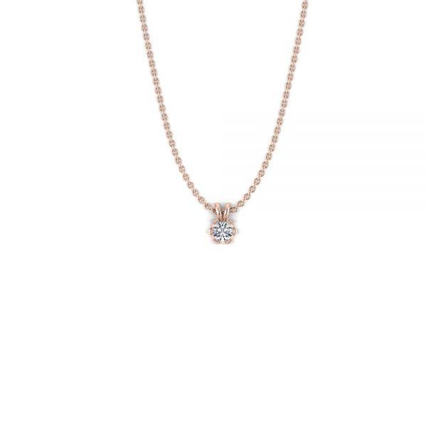 Rosegouden diamanten ketting 0,05ct