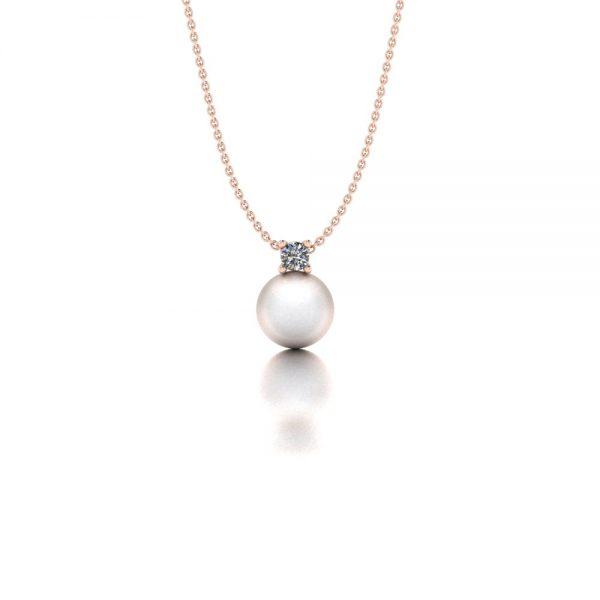 Roségouden diamanten hanger met Akoya parel