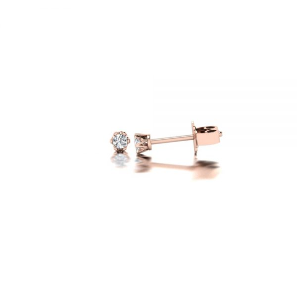 Rose gold diamond stud earrings side view