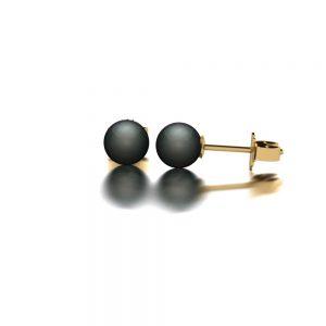 Yellow gold Tahitian pearl stud earrings