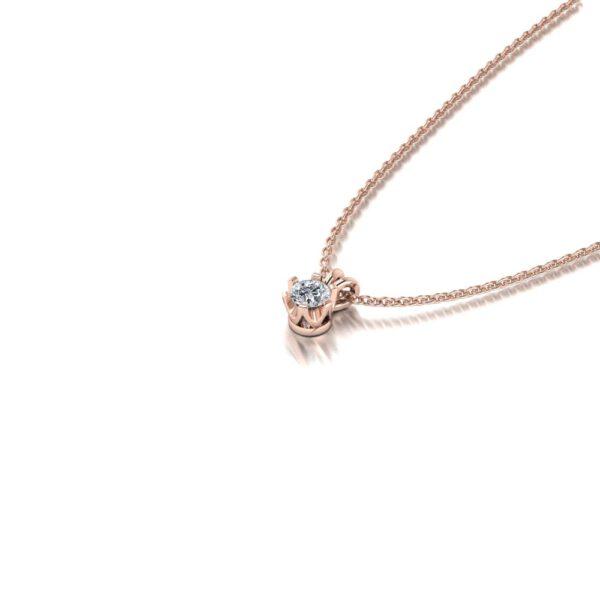 Rosegouden diamanten ketting zij