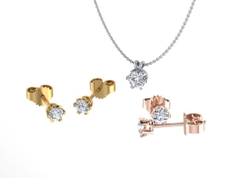 Diamanten kettingen en oorbellen collectie