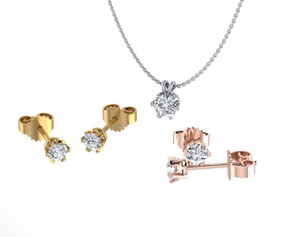 Diamanten kettingen en oorbellen collectie transparant