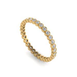 Yellow gold round diamond eternity ring side